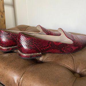 Zara - Red Snake skin loafers